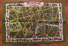 Vintage IRISH Linen Tea Towel DAILY TELEGRAPH Picture Map LONDON Geographia New