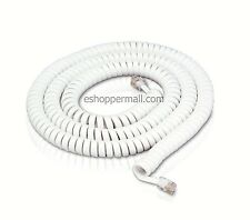 25'FT White Telephone Extension Coil Cord Phone Cable Line W/ Connectors NEW STL
