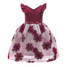 New Kid Flower Girl Formal Birthday Prom Pageant Party Dress Wine Sz 7-8 Z178E