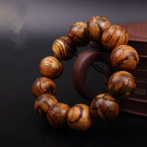 Stretchy Top Indonesia Natural Tiger Stripes Machilus Wood Buddha Bead Bracele A
