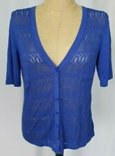 Talbots Cardigan Sweater Large Blue Button Front Short Sleeve Open Knit NWT
