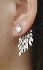 Festival Party Boutique Uk Gift Silver Crystal Feather Fashion Earring Boho