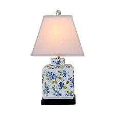 """Chinese Porcelain Green Blue White Tea Caddy Floral Motif Table Lamp 20"""""""