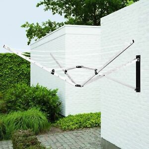 5 Arm Aluminium 26M Deluxe Wall Mounted Rotary Airer Clothes Line Dryer Washing