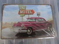 66 Motel Route 66 Tin Retro Metal Sign Painted Poster Wall Art Garage