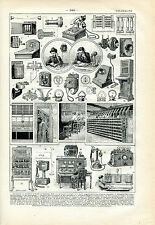 1922 OLD TELEPHONE Antique Print LAROUSSE
