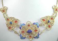 Lapis Carnelian  Blue Enamel Sterling Silver Vermeil Necklace Unusual Jewelry