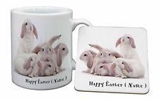 Personalised White Easter Rabbits Mug+Coaster Christmas/Birthday Gift, AR-5PEAMC