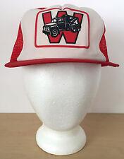 Vtg  Letter W Wrecker Tow Truck Red Mesh Printed Foam Trucker Cap Hat Snapback
