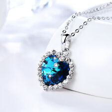 Wholesale 18K White Gold Filled Titanic Blue Love Heart Pendant Necklace Gift