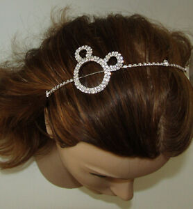 Mickey Mouse Headband New Silver Tone Crystal Accents