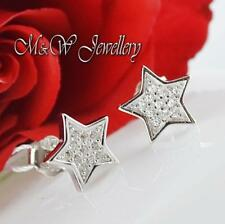 Solid 925 Sterling Silver Rhodium Plated Stud Earrings STARS With Zirconia