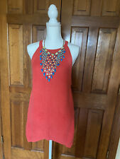 Boston Proper Coral Knitted Crochet Sleeveless Shark Bite Hem Dress/ Size Large