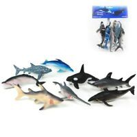 Ocean World Sea Life Animals Shark Dolphin Whale 8 Pack Plastic Figures Kids Toy