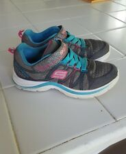 """Girls """"Skechers"""" athletic shoes, size 12, gray sparkle pink & blue"""