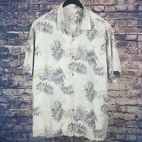 TOMMY BAHAMA Mens 100% Silk Light Gray Floral S/S Hawaiian Camp Shirt XXL