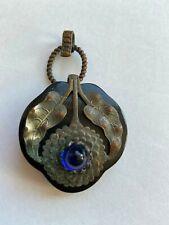 Bakelite buckle half, cobalt blue glass, black with metal, art deco, art nouveau