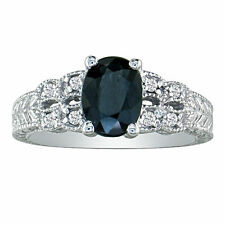 10K WHITE GOLD 1 1/2CT SAPPHIRE AND DIAMOND  VINTAGE RING, SIZE-7