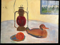 Vintage Original Oil Painting On Board Impressionist Still Life Duck Lantern