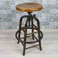 More details for rustic vintage height adjustable kitchen stool, wood seat, coffee shop bar cafe