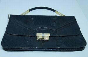 Vintage Black Snakeskin Handbag Evening Bag Reptile Skin Leather & Brass Purse