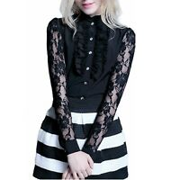 vancy NEW Shirt Career Pretty Womens lace Top Victorian Long Sleeve Blouse Size