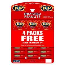 KP Nuts Spicy Chilli Flavour Peanuts 21 x 50g Packs on a Pub Snack Hanging Card