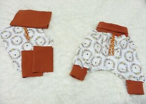 DIY Nähpaket Pumphose Lybstes Stoffzuschnitte Jersey Safari ecru + Bündchen rost