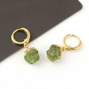 August Birthstone Natural Raw Peridot 24k Gold Plated Handmade Clip-On Earring