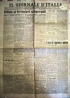 IL GIORNALE D'ITALIA 24 GENNAIO 1920 - DIFFIDA AI FERROVIERI SCIOPERANTI -N. 766