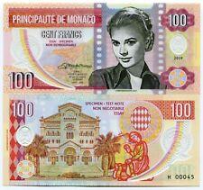 Monaco Grace Kelly 100 Francs Specimen Test Gabris Polymer 2019 Fantasy Banknote