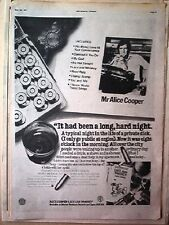 ALICE COOPER Lace and Whiskey 1977 UK Poster size Press ADVERT 16 x 12 inches