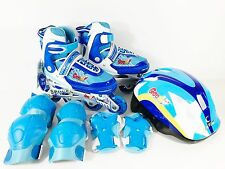 Inline Roller Skate w/ Light Up Wheels Helmet Pads Adjustable Kids Size 4-6 Blue
