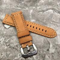 Für Panerai Luminor Marina Pam Uhren 24mm Braunes Leder Uhrenarmband