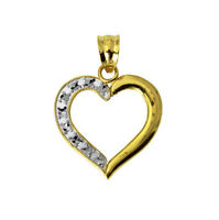 14K Yellow and White 2 Two Tone Gold Heart Charm Pendant