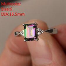 Silver Ring Crystal Princess Cut Mystic Rainbow Topaz Engagement Siz6-10 Jewelry