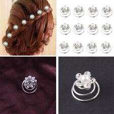 12X Épingles Cheveux Strass Perle Spirale Accessoire Mariage Soirée Bijou Cadeau