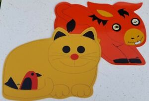 2 Vtg Vinyl Placemats Stotter Animals Kitty Cat & Donkey Lenticular Flicker Eyes