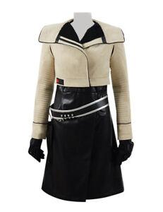 Qi'Ra Cosplay Costume Suit Women Black PU Dress Jacket Outfit Full Set