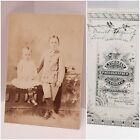 Vintage antique photograph children boy girl studio F. FORSHEW Hudson NY origina