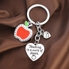 Teacher Respect Gift Appreciation Keyring Keychain Red Apple Jewelry Present Hot