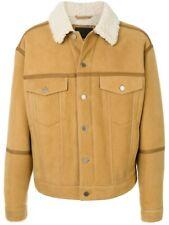 BNWT Mens Alexander Wang Shearling 100% Sheep Skin Tan Denim Jacket Coat S £2115