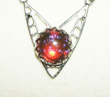 Art Deco DRAGONS BREATH Necklace CZECH GLASS MEXICAN FIRE OPAL Silver Plated