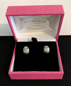 Sterling Silver Large Oval Cz Stud Earrings 925