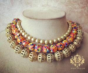 Statement Necklace Chunky Tribal Africa Handmade Brass & Crushed Glass Orange