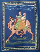 "VINTAGE FINE HANDMADE PAINTING OF LOVE LEGENDS OF RAJASTHAN ""DHOLA MARU"" ON SILK"