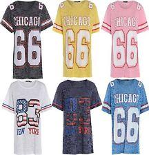 LADIES CHICAGO 66 VARSITY TOPS WOMENS NEW YORK BAGGY OVERSIZE T SHIRT 8 10 12 14