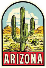 ARIZONA   Cactus  Vintage 1950's Style Travel Decal sticker