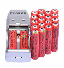 20X AAA 3A 1800mah1.2V NiMH rechargeable battery Red+USB Charger