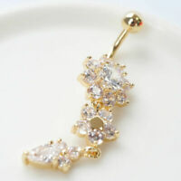 Beauty Crystal Flower Dangle Bar Body Piercing Jewelry Navel Belly Button Ring